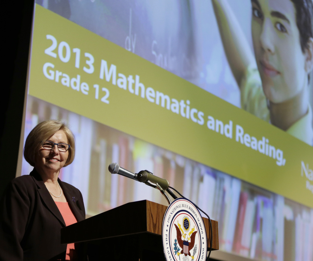 Cornelia Orr, executive director of the National Assessment Governing Board, announces results Wednesday in Washington of a study that reflects poorly on U.S. students.