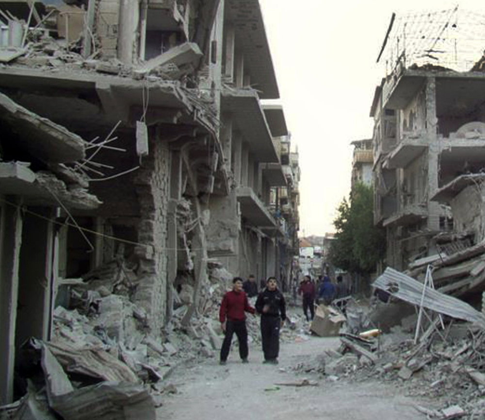 Homs, a former rebel stronghold, shows widespread damage after frequent bombings by the Syrian government.