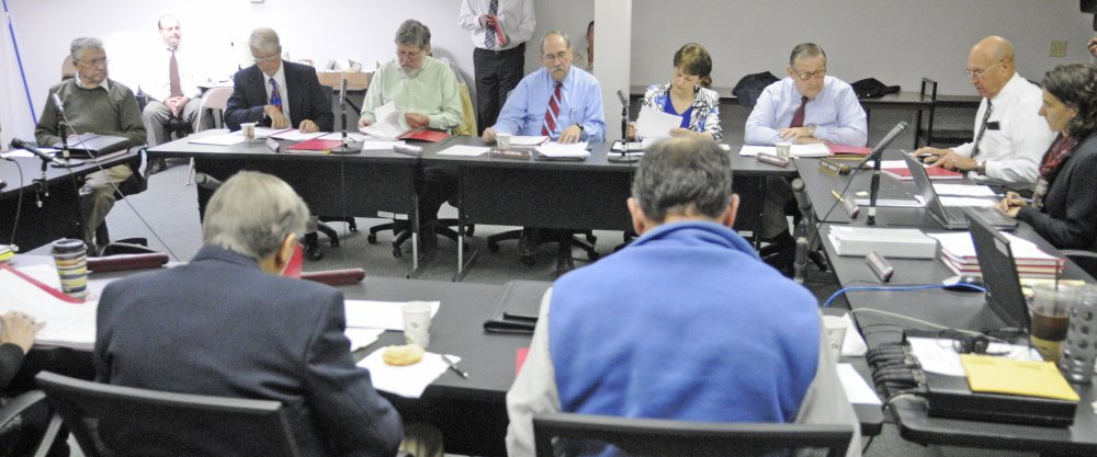 Russ Edwards, owner of the Meadowbrook Trailer Park, far left, speaks during Wednesday's hearing. Edwards lost his license to run the park.