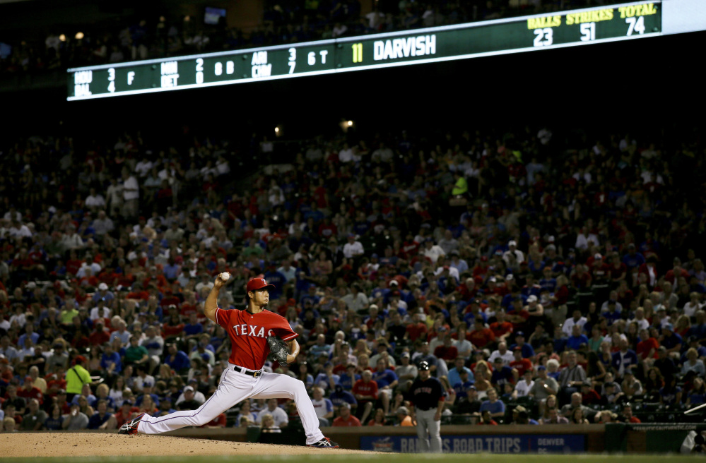Yu Darvish of the Texas Rangers came within one out of a no-hitter for the second time of his career, but David Ortiz broke it up with a ground-ball single in the ninth.