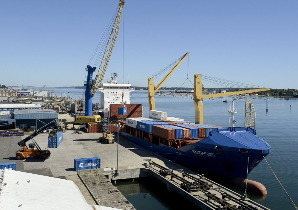 Loading cargo at the International Marine Terminal, Eimskip container service last year made Portland its only port of call in the United States. The affiliation links Maine to Atlantic Canada and Northern Europe.