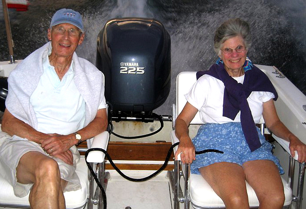 The Rev. Christopher and Leigh Sherrill enjoy Maine from the stern of their son's boat.