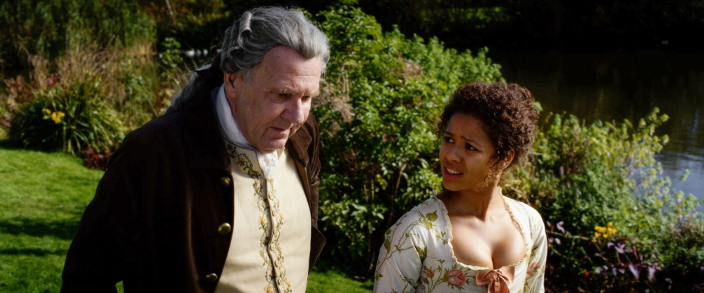 "Tom Wilkinson as Lord Murray and Gugu Mbatha-Raw as Dido in ""Belle."""