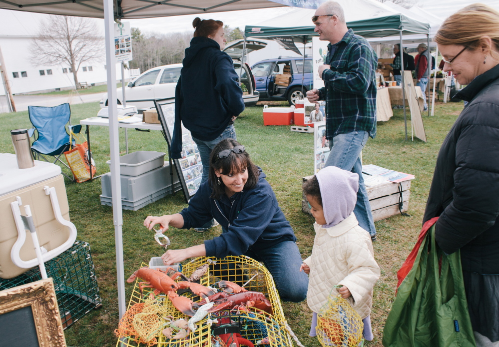 Sue Nelson of Potts Harbor Lobster in Harpswell shows Maple Gauthier, 3, of Brunswick how to tend to a lobster trap during the Crystal Springs Farmers Market in Brunswick on May 3.