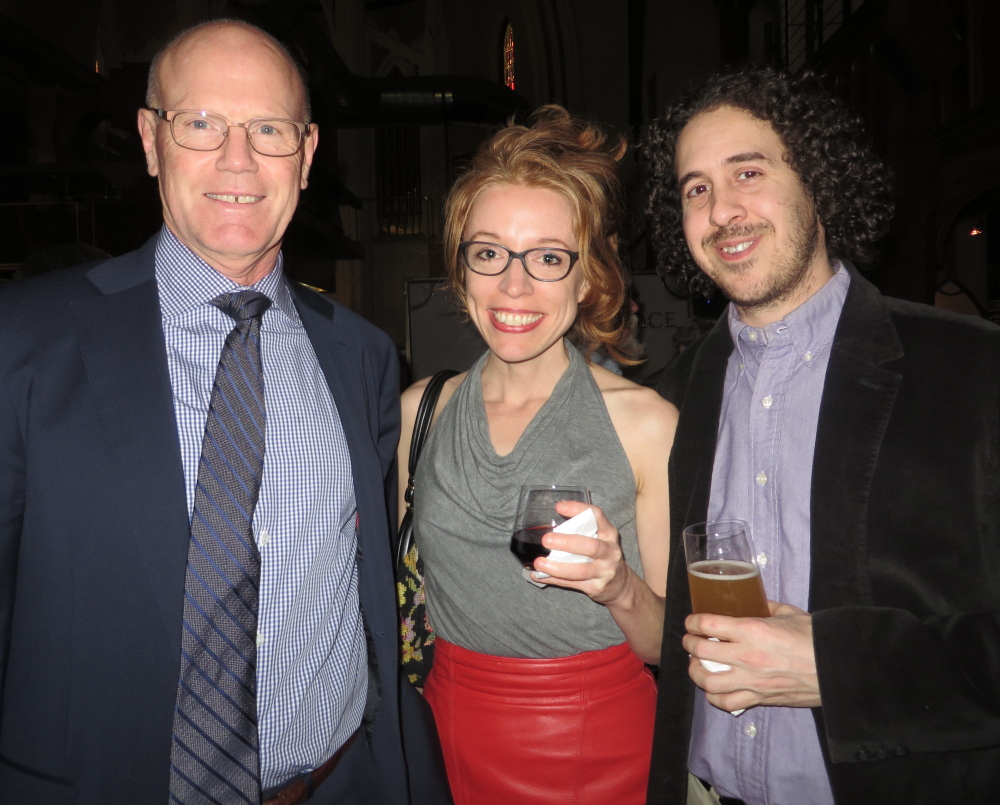 Julian Sweet, left, Dorothy Royle and Marc LeVasseur, all of Portland, at the benefit for domestic violence victims.