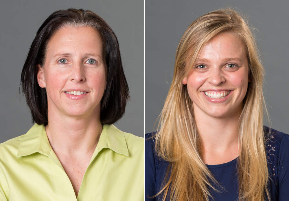 Associate head coach Ginny Doyle of the University of Richmond, left, and director of basketball operations Natalie Lewis were two of the three people aboard a hot air balloon that drifted into a power line, burst into flames and crashed on Friday.