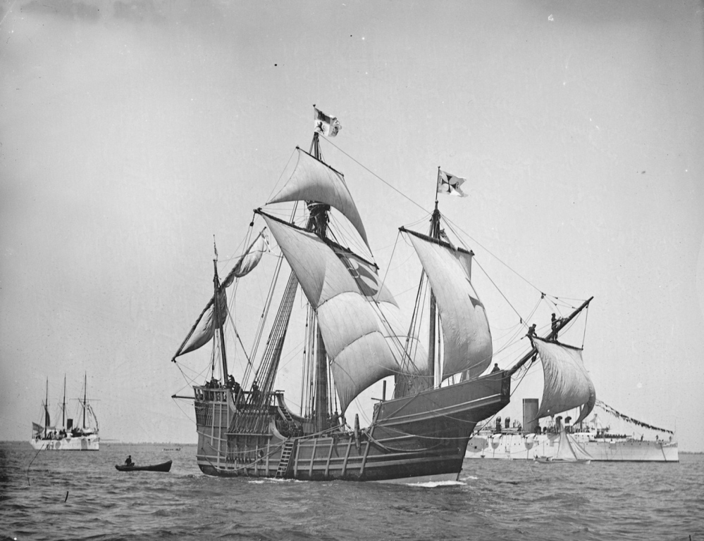A replica of Christopher Columbus' caravel Santa Maria is shown in this circa 1892 handout photo provided by the U.S. Library of Congress. A shipwreck found off the north coast of Haiti could be the 500-year-old remains of the Santa Maria.