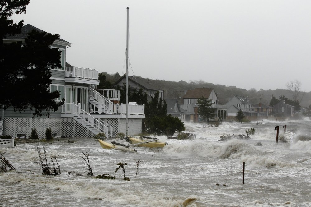 A storm surge from Superstorm Sandy floods homes in Hampton Bays, N.Y., on Oct, 29, 2012. Authors of a new study warn that a shift in storms may have significant implications in regions including the northeastern United States.