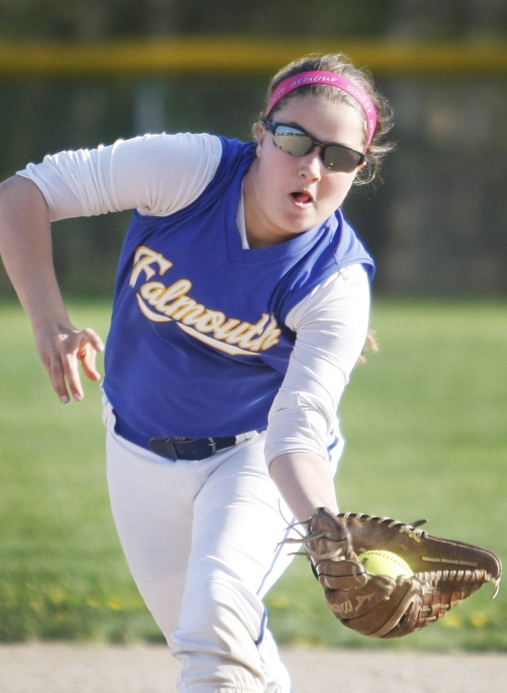 Falmouth second baseman Emily Beaulieu gloves a low line drive during the seventh inning of Thursday's 14-inning 5-2 loss to Wells in a matchup at home between two of the best girls' softball teams.