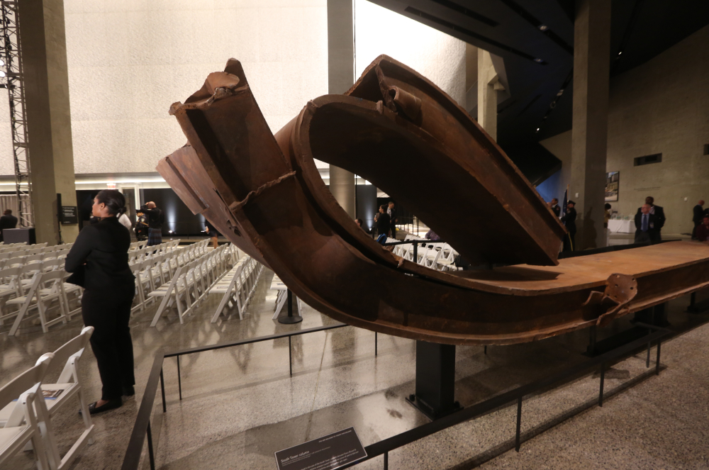 A twisted piece of steel from the World Trade Center sits in Foundation Hall before the dedication ceremony at the National September 11 Memorial Museum in New York on Thursday.