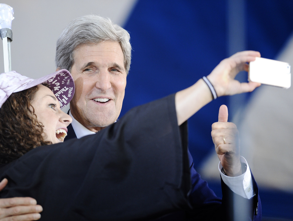 Secretary of State John Kerry poses for a selfie with Yale student Ariel Kirshenbaum on Sunday.
