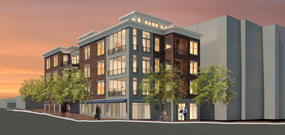 Rendering for project at 185 Fore St. in Portland. Courtesy of Bateman Partners, LLC.