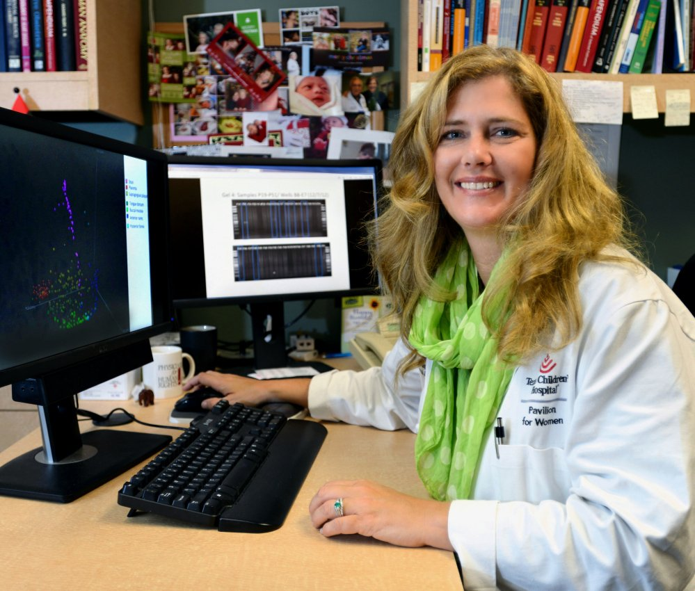 Dr. Kjersti Aagaard works at the Baylor College of Medicine in Houston on Monday. Her research shows a small community of bacteria lives in the placentas of healthy pregnant women.