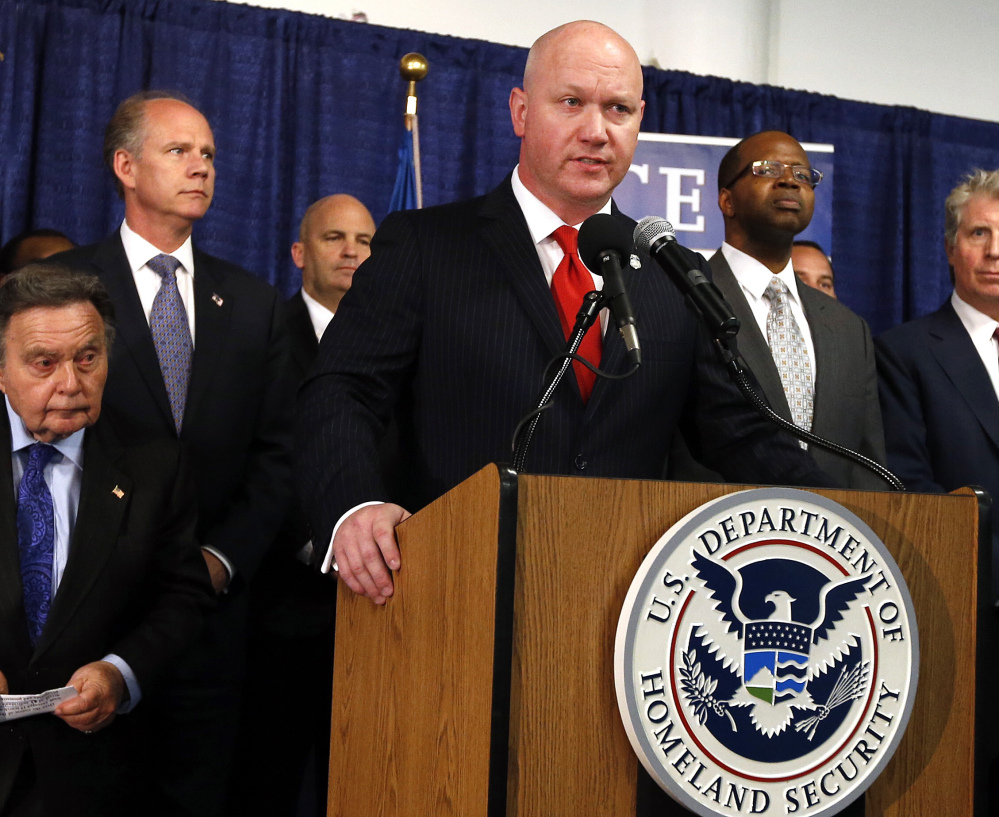 Homeland Security Investigations Special Agent James Haynes announces one of the largest local roundups ever of people who seek to anonymously share child porn online Wednesday in New York. Police seized nearly 600 computers and other devices.