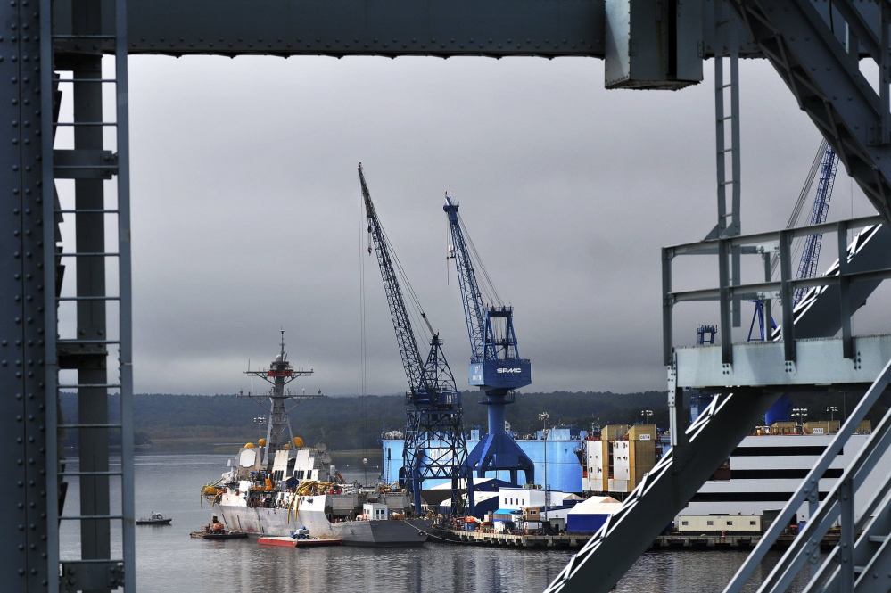 Both the House and Senate defense bills would authorize spending for destroyers already contracted to Bath Iron Works, shown here, and the Pascagoula, Miss., shipyard.