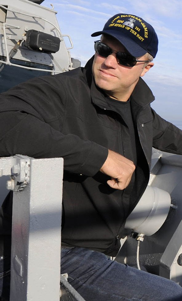 """Actor Adam Baldwin from the new series """"The Last Ship"""" stands on the deck of the USS Oak Hill on Wednesday."""