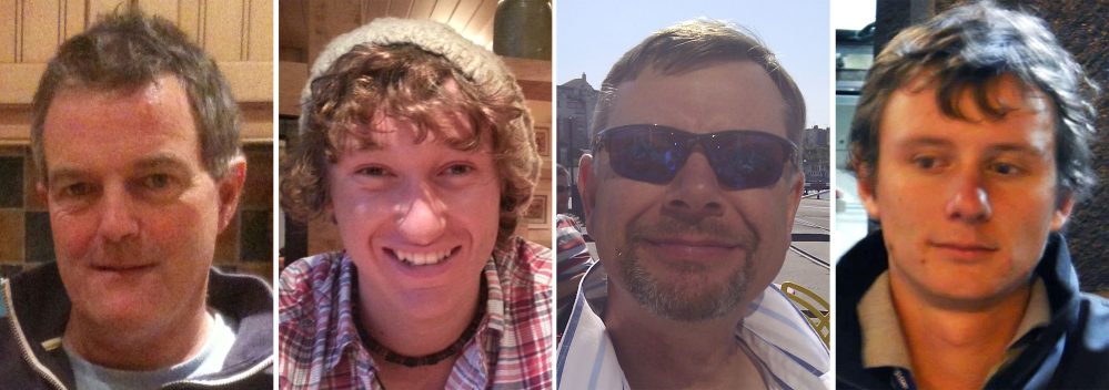 The missing sailors are, from left, Paul Gosling, James Male, Steve Warren and Andrew Bridge.