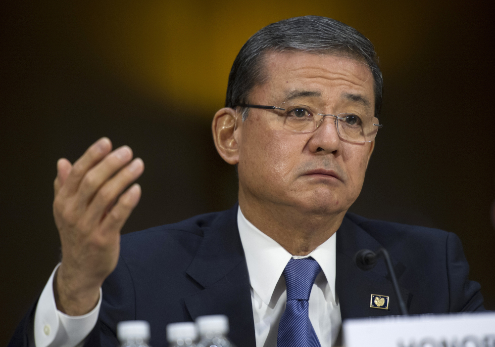 Veterans Affairs Secretary Eric K. Shinseki testifies on May 15 on Capitol Hill in Washington. The first Japanese American to become a four-star general is in a firestorm over reports that VA employees covered up delays in delivering medical care to veterans.