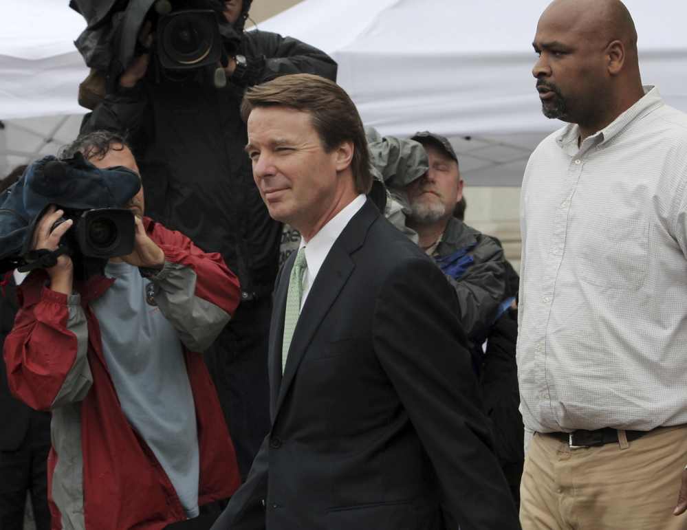 John Edwards leaves a federal courthouse in Greensboro, N.C., in May 2012. He was tried and acquitted of one of six campaign finance charges against him. Now he is practicing law with renewed enthusiasm.