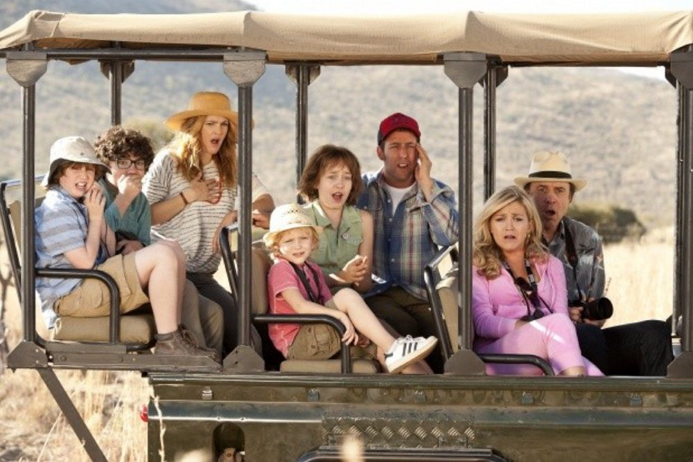 "Drew Barrymore, third from left, Adam Sandler, third from right, Wendi McLendon-Covey and Kevin Nealon in ""Blended"""
