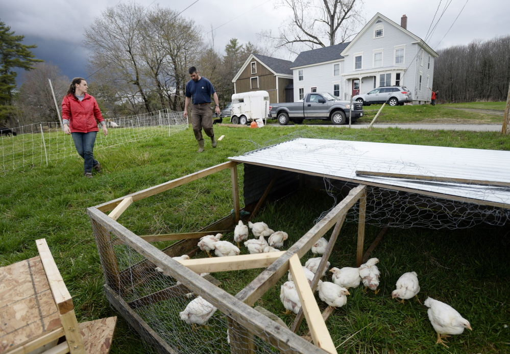Ryan Fahey, 29, and Michael Dennett, 31, approach the chicken coop as they set up at their new farm in Gardiner. Fahey and Dennett are leasing the place from older, more experienced farmers.