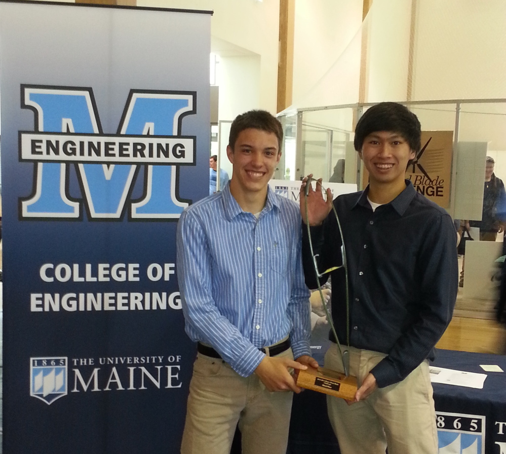 Thornton Academy seniors David Parran, left, and Kent Seneres won third place at the recent statewide Wind Blade Challenge engineering contest.