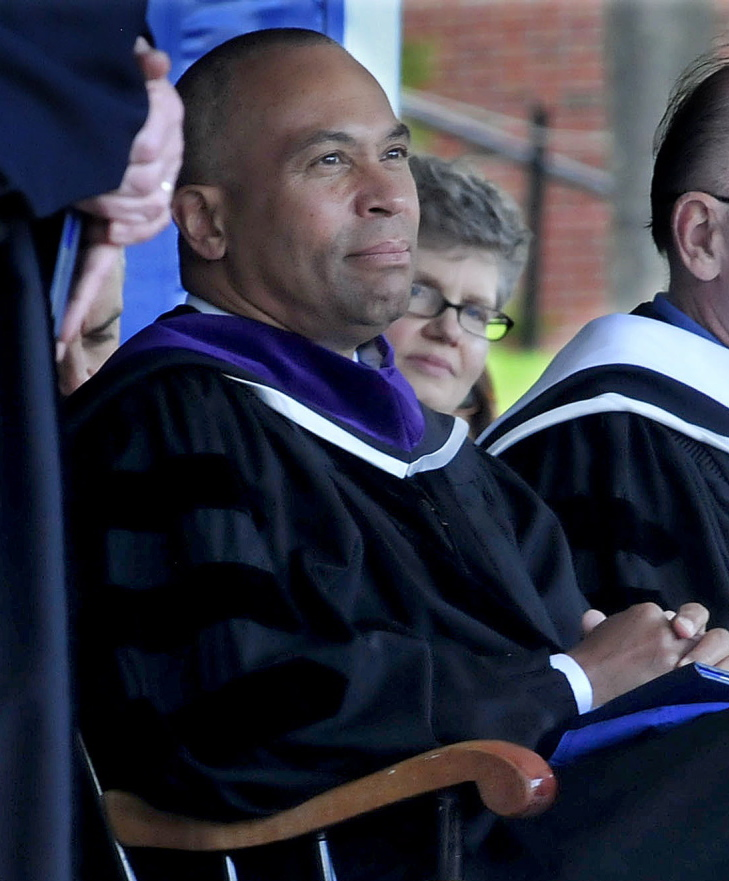 Gov. Deval Patrick of Massachusetts listens as honorary degrees are awarded during Colby College's commencement.