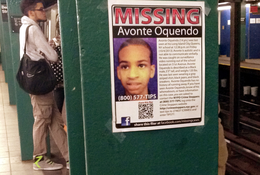 A missing poster displayed in New York last Oct. 21 asks for help in finding Avonte Oquendo, a 14-year-old with autism who was last seen Oct. 4 walking out of his school. He was found dead in a river three months later. Making GPS units more accessible to families of children with autism is a worthy goal, but lower-tech strategies for ensuring the safety of children with autism shouldn't be overlooked.