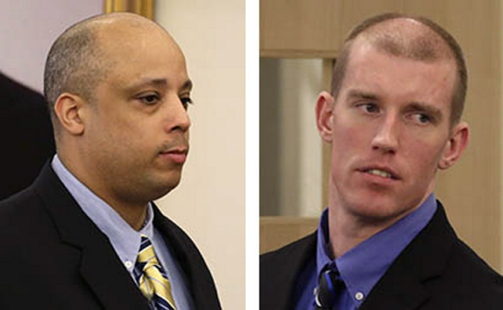 Randall Daluz, left, and Nicholas Sexton are on trial, accused of murdering three people and setting a car containing the bodies on fire in 2012.