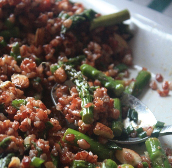 Blood oranges add tang to red rice and asparagus salad.