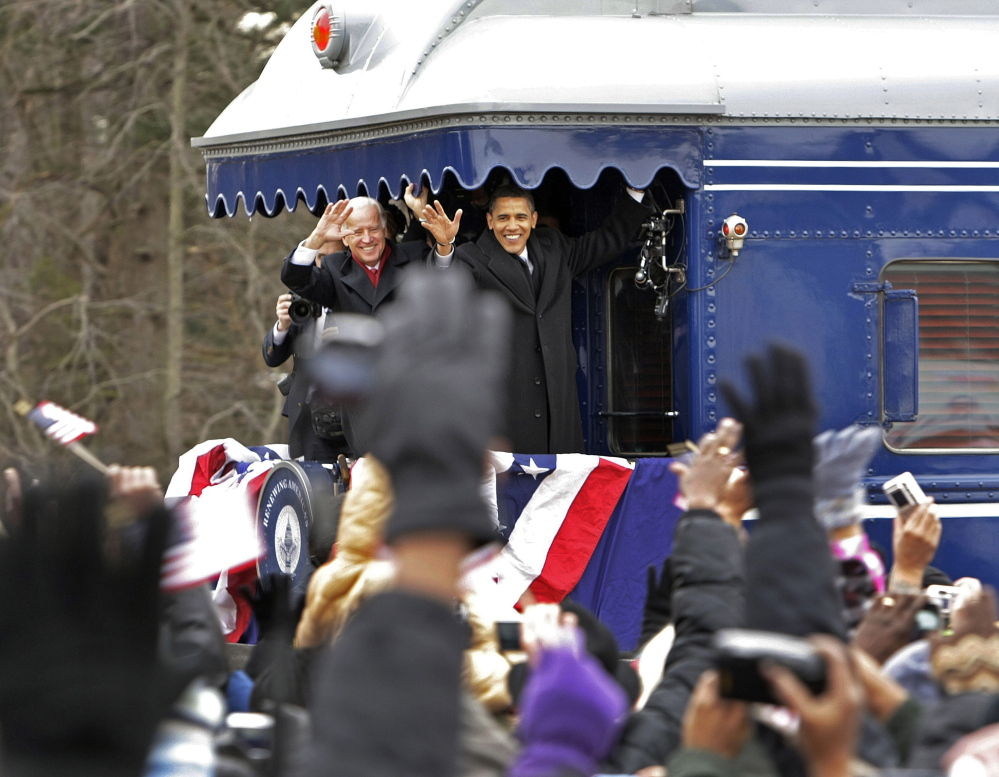 President-elect Barack Obama and Vice President-elect Joe Biden stop in Wilmington, Delaware, on Jan. 17, 2009, on their inaugural whistle-stop tour to Washington. The rail cars in the train set to arrive in Portland in September have carried several presidents and presidential hopefuls over the past century.