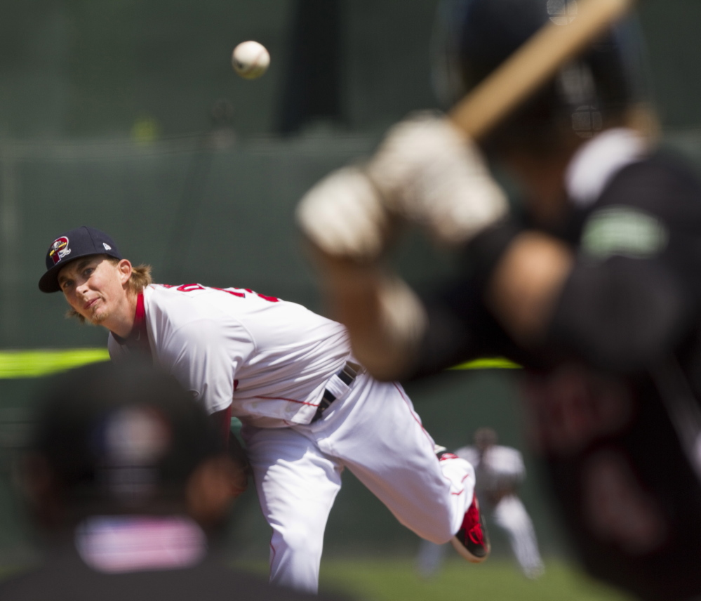 Portland Sea Dogs pitchar Henry Owens delivers to a New Britian Rock Cats batter at Hadlock Field in Portland on May 30.
