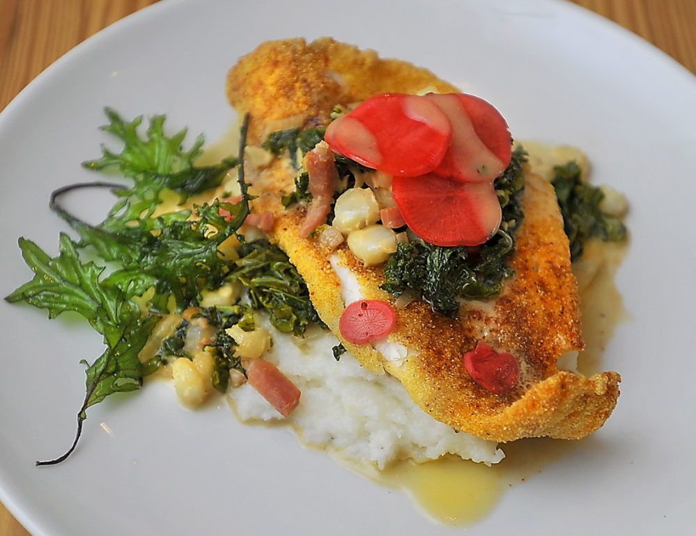 Panko crusted catfish, purple kale, white hominy, country ham, white grits and pickled radishes.