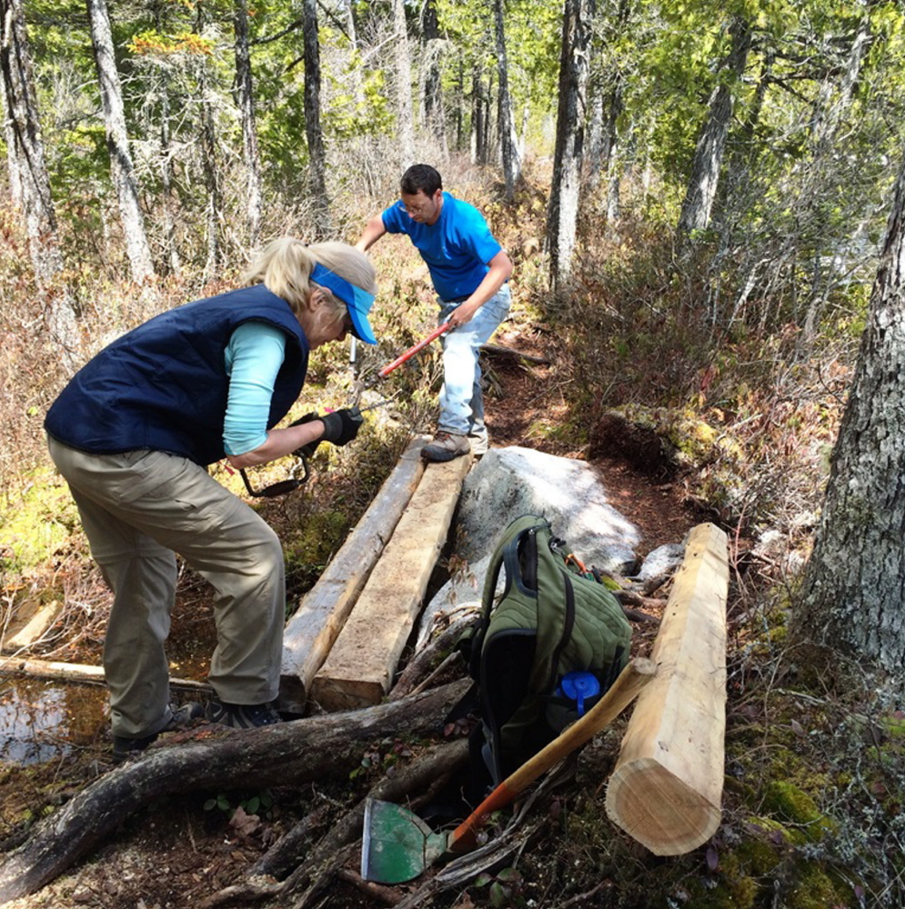 Volunteer trail work is a valuable tradition on National Trails Day. At the Rumford Whitecap Mountain Preserve, volunteers will clear brush among other chores.