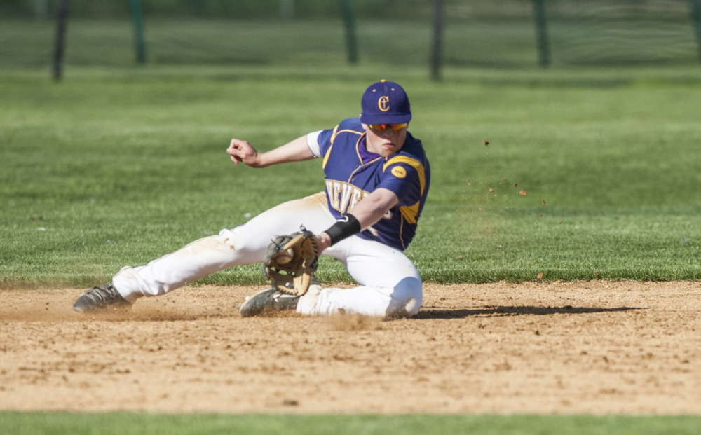 Matt LaPoint of Cheverus fields the ball during a game Thursday. Thornton improved to 7-6-1 with the nine-inning victory that dropped the Stags to 7-6.