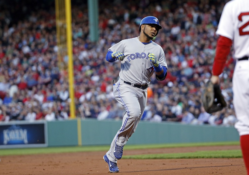 Toronto Blue Jays' Edwin Encarnacion runs the bases after hitting a two-run homer in the third inning of a baseball game against the Boston Red Sox at Fenway Park in Boston, Tuesday, May 20, 2014. Fenway Park