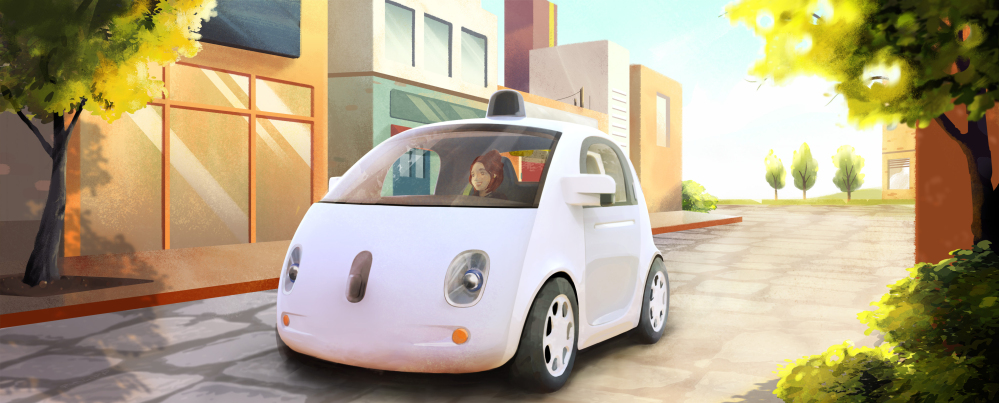 Google's fully-automated car is shown an artistic rendering. Google on Tuesday said it hopes by this time next year, 100 prototypes will be on public roads. (AP Photo/Google) The Associated Press