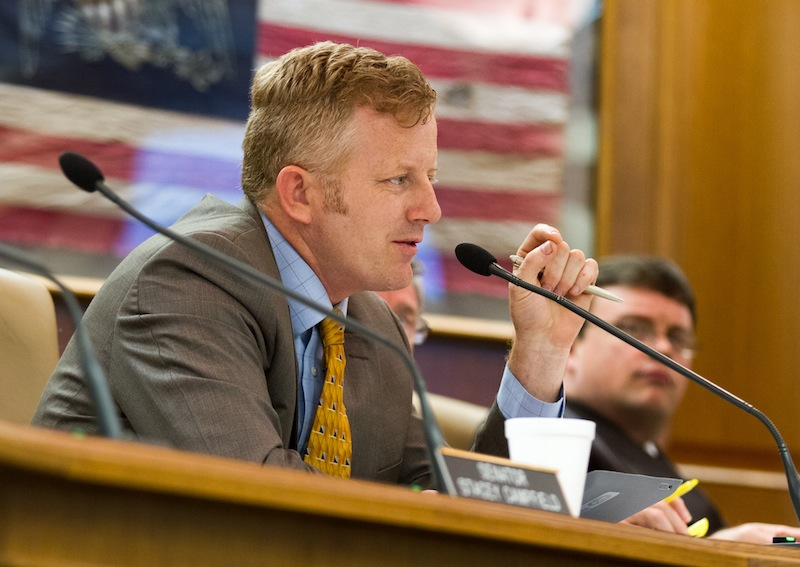 In this May 16, 2013, file photo, Republican state Sen. Stacey Campfield of Knoxville speaks at a Senate subcommittee hearing in Nashville, Tenn. Campfield was criticized by leaders of both the Republican and Democratic parties in Tennessee on Monday, May 5, 2014, for writing a blog post likening the insurance requirement under President Barack Obama's health care law to the forced deportation of Jews during the Holocaust.