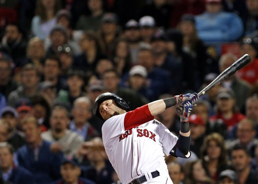 Boston Red Sox second baseman Dustin Pedroia swings and misses in the seventh inning of a baseball game against the Cincinnati Reds at Fenway Park in Boston Wednesday. Fenway Park