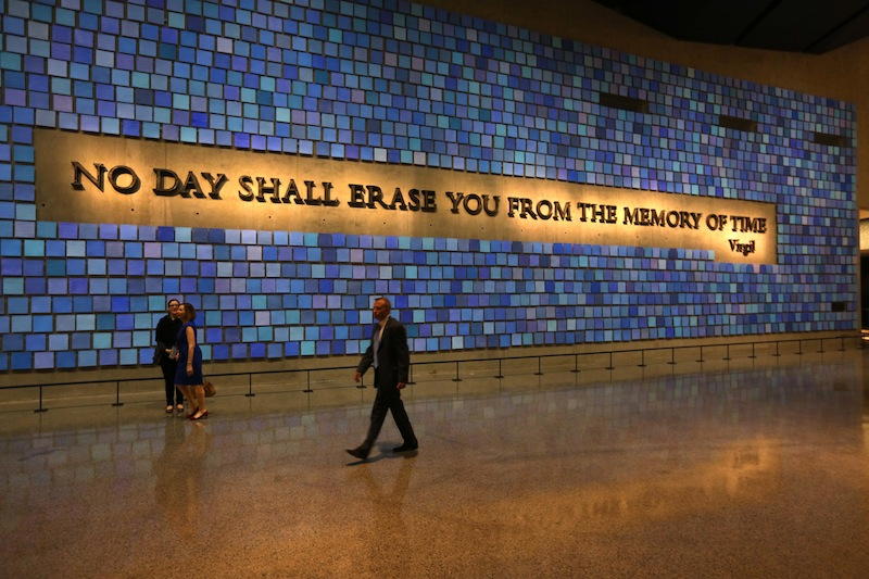 A quote from Virgil fills a wall of the museum prior to the dedication ceremony at the National September 11 Memorial Museum in New York. The museum was designed with the psychological well-being of the public in mind.