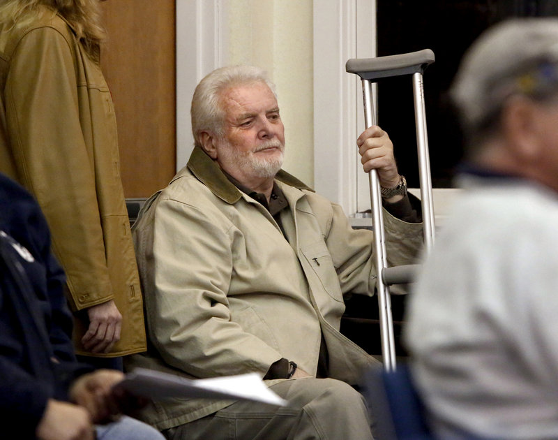 Public Works Director Bill Robertson attends an Old Orchard Beach Town Council meeting where the council rescinded his firing, in this February 2013 photo.