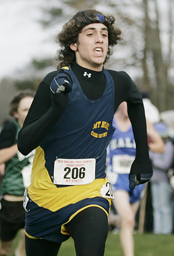 Kelton Cullenberg of Mt. Blue competes in the New England high school cross country championships at Twin Brook Recreation Area in Cumberland in 2007. 2007 Telegram File Photo/Derek Davis