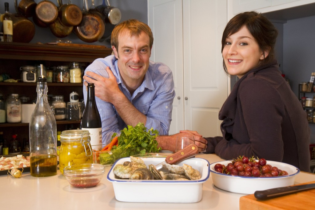 Chef, author and sustainable seafood expert Barton Seaver relaxes with his wife, Carrie Seaver in their South Freeport kitchen.