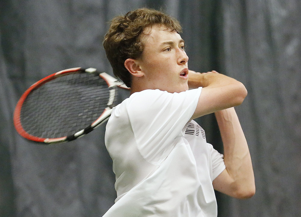 Brendan McCarthy of Falmouth won the MPA boys' singles championship Monday.