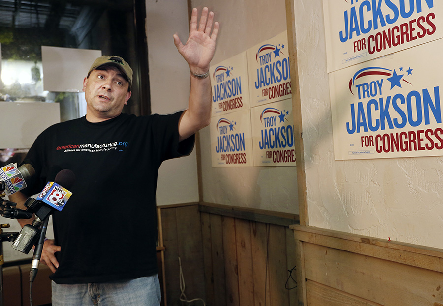 Troy Jackson speaks to media and campaign supporters after he was defeated by Emily Cain. Derek Davis/Staff Photographer