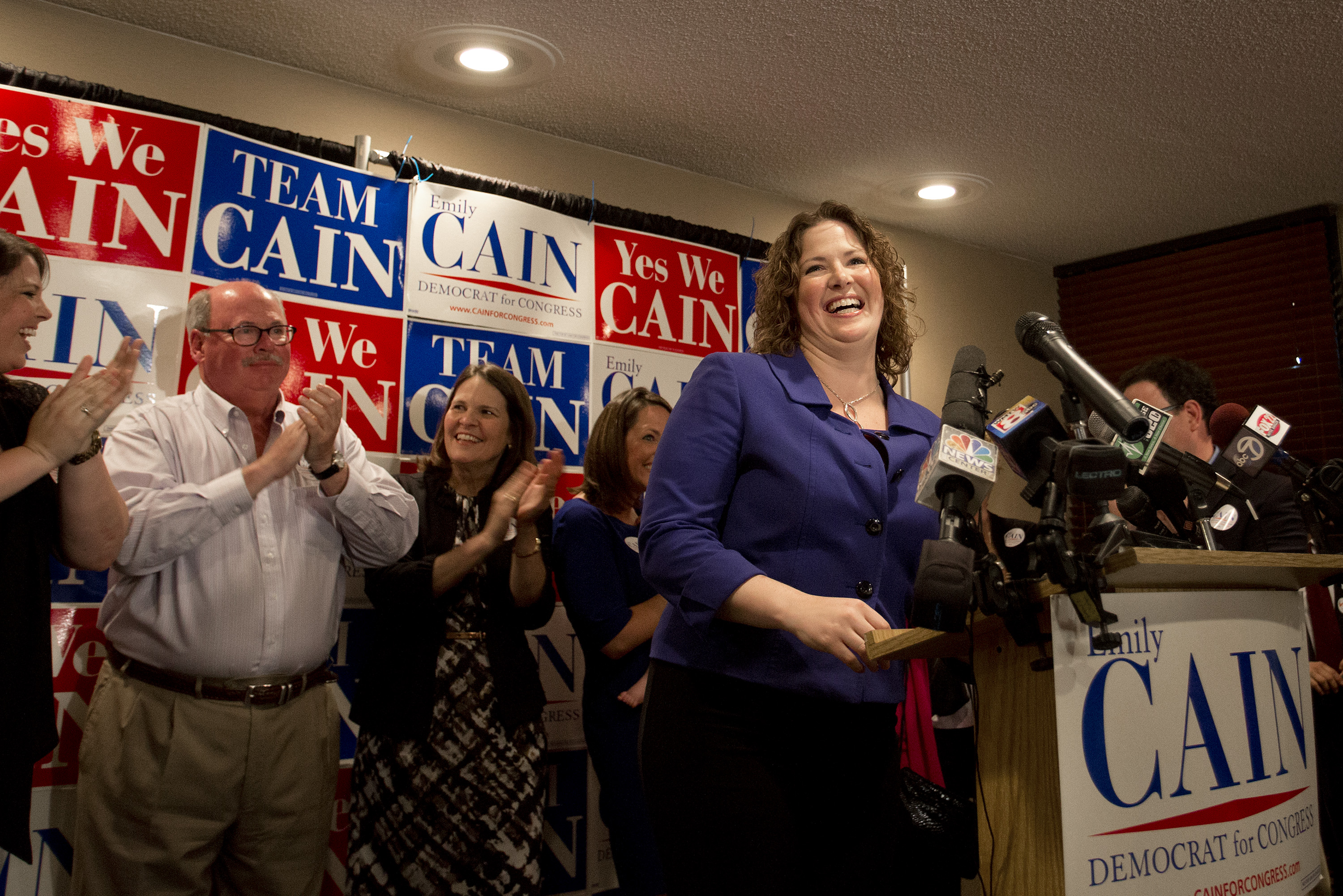Emily Cain speaks to supporters Tuesday night. She won the Democratic nomination in the 2nd Congressional District. Gabe Souza/Staff Photographer