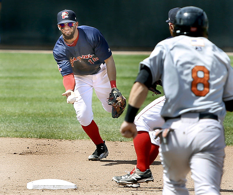 Sea Dogs shortstop Deven Marrero flips the ball to teammate Sean Coyle to force out Baysox first baseman Christian Walker at second base at Hadlock Field in Portland on Sunday. Tim Greenway/Staff Photographer