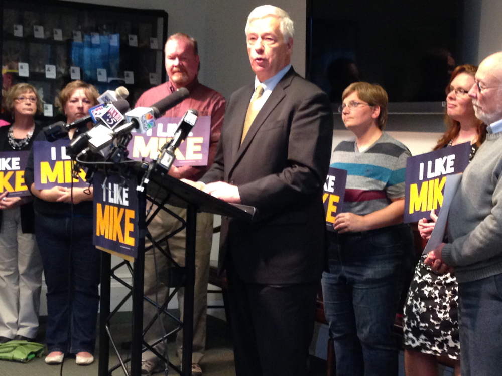 U.S. Rep. Mike Michaud, a Democratic candidate for governor, unveils a proposal Thursday to provide oversight of the Maine Department of Health and Human Services. Steve Mistler/Staff Writer