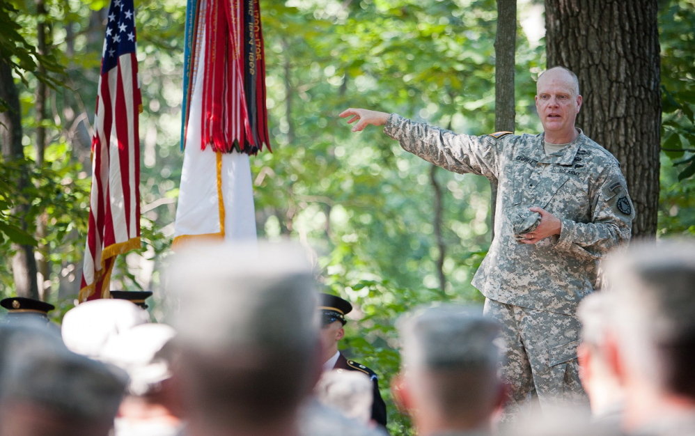 Brig. Gen. James Campbell addresses members of the Maine Army National Guard. Campbell was relieved of his duties Tuesday by Gov. Paul LePage. 2013 Press Herald file photo