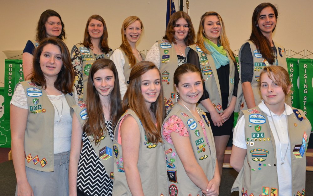 Girl Scout Silver Award recipients included, back row from left, Hannah Smith-Erb, Kathryn Landry, Natalie Swisher, Katie Fleming, Alexandrea Hanscom Willey, and Jessica Brown; front row from left, Jillian Brown, Erin O'Donovan, Becca Hamlen, Kelsey Currier, and Sara Johnson. Photo courtesy Cortney Smart